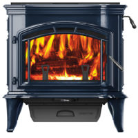 Explorer III Wood Stove - Photo (Unit Only, Porcelain Blue, 4C, Low Res)
